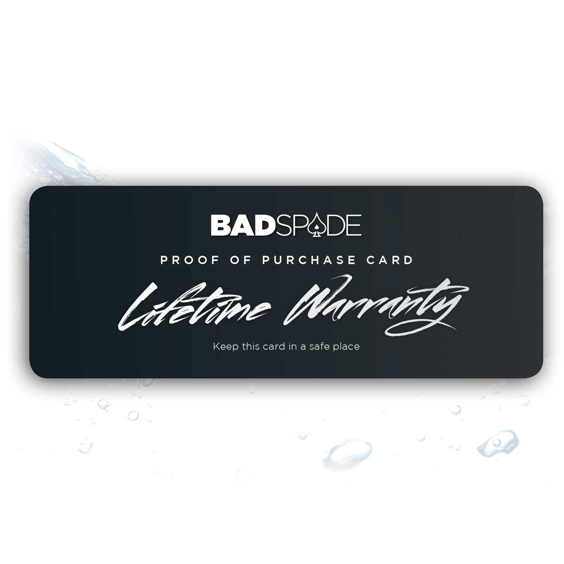 Lifetime Warranty Card Badspade Eyewear